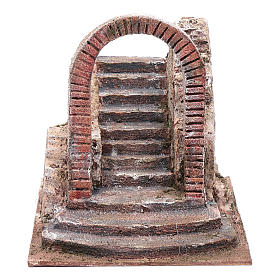 Settings, houses, workshops, wells: Nativity scene stairway with arch  20x20x25  cm