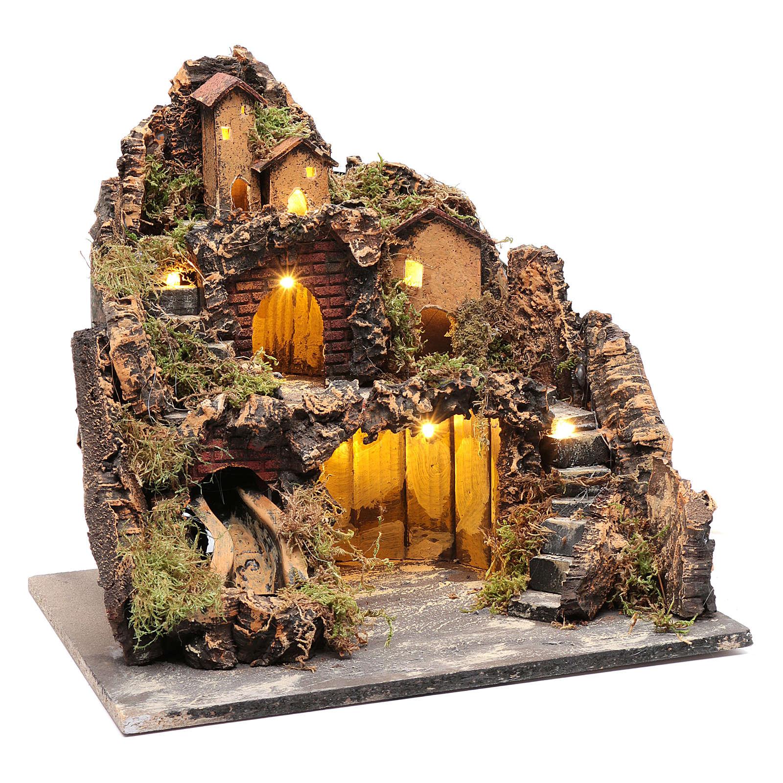 Borgo stile rustico con capanna luci e pompa presepe napoletano 4