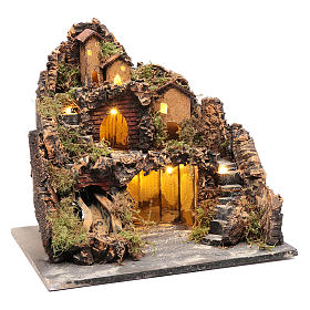 Borgo stile rustico con capanna luci e pompa presepe napoletano s3