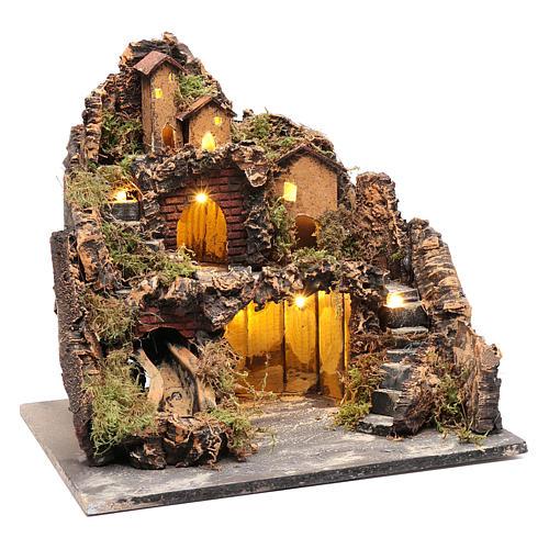 Borgo stile rustico con capanna luci e pompa presepe napoletano 3