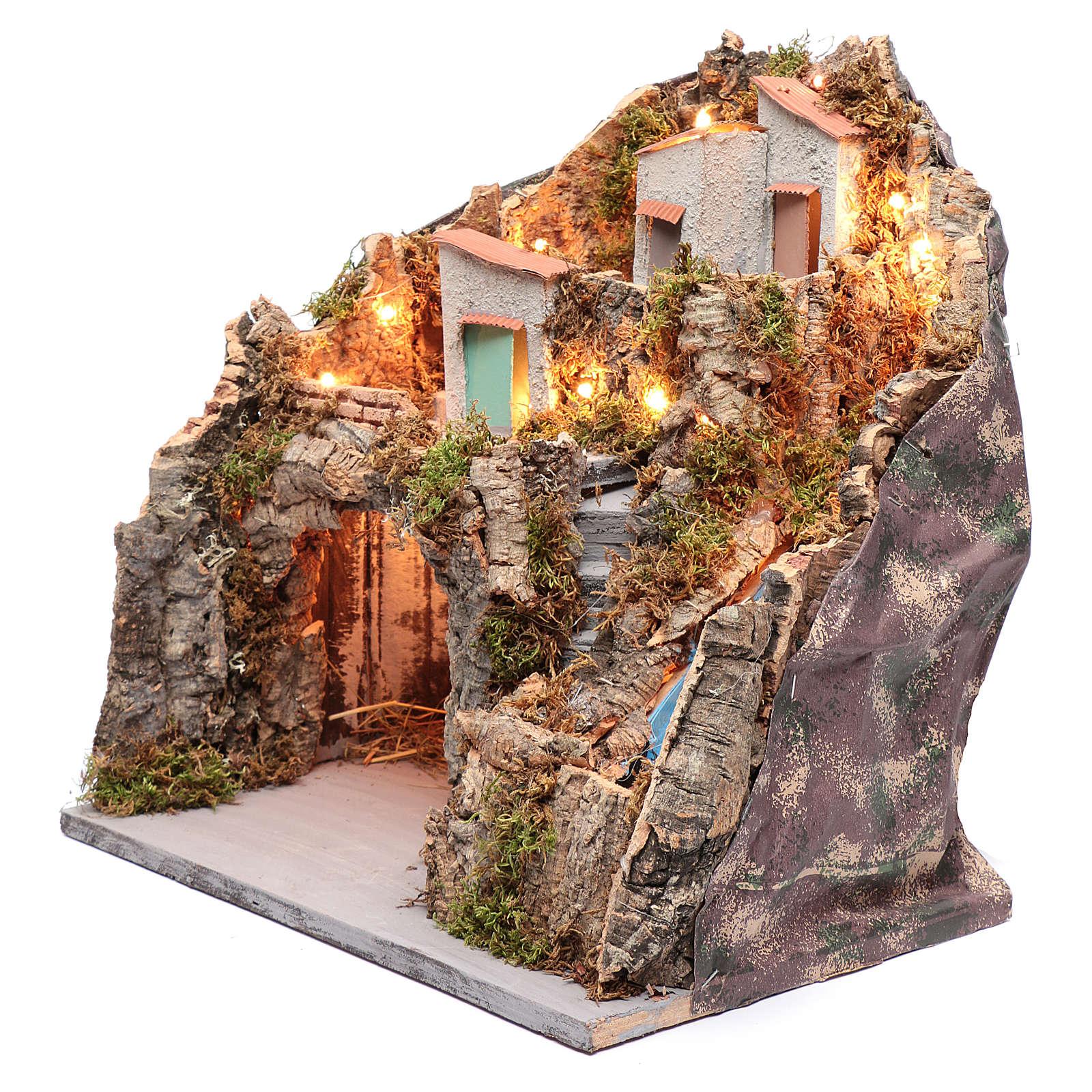 Ambientazione presepe napoletano capanna sotto gruppo di case e cascata 4