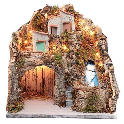 Ambientazione presepe napoletano capanna sotto gruppo di case e cascata 1