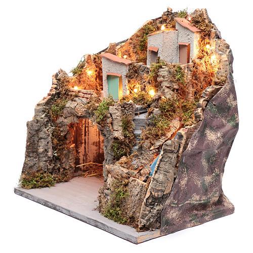 Ambientazione presepe napoletano capanna sotto gruppo di case e cascata 2