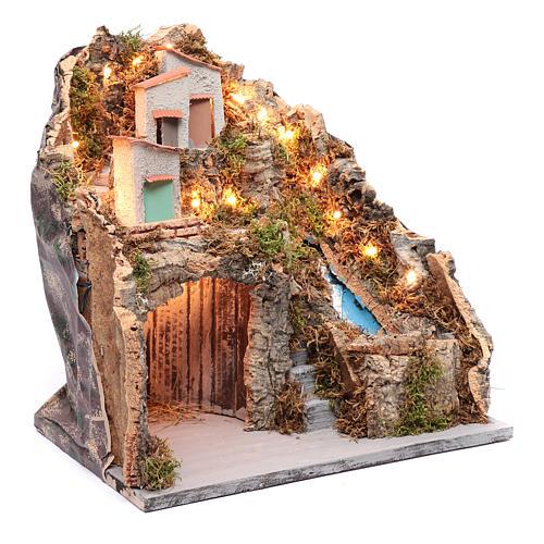 Ambientazione presepe napoletano capanna sotto gruppo di case e cascata 3
