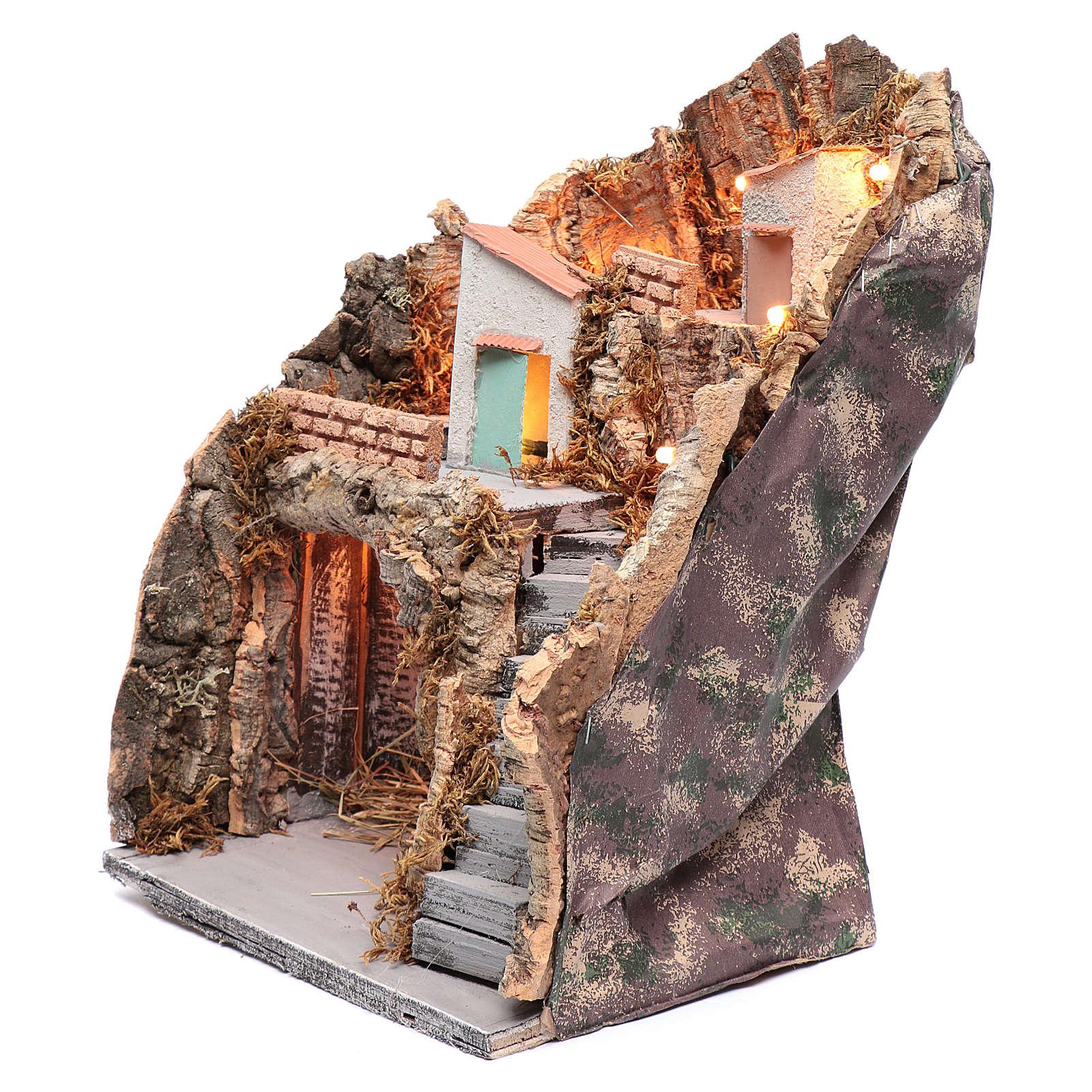 Ambientazione in stile rustico presepe napoletano 35x25x20 cm 4
