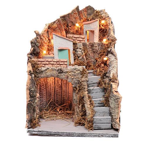 Ambientazione in stile rustico presepe napoletano 35x25x20 cm 1