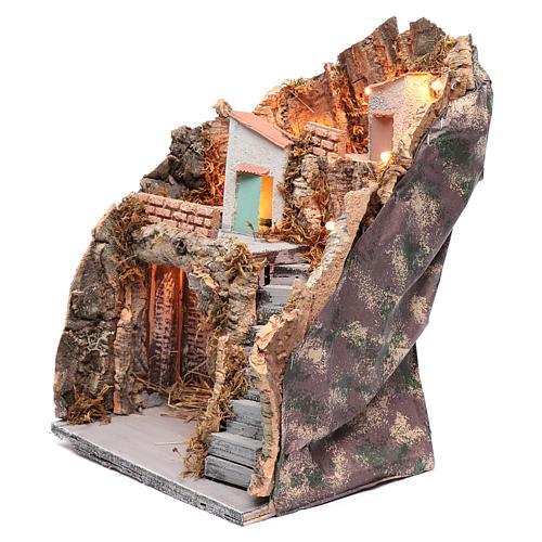 Ambientazione in stile rustico presepe napoletano 35x25x20 cm 2