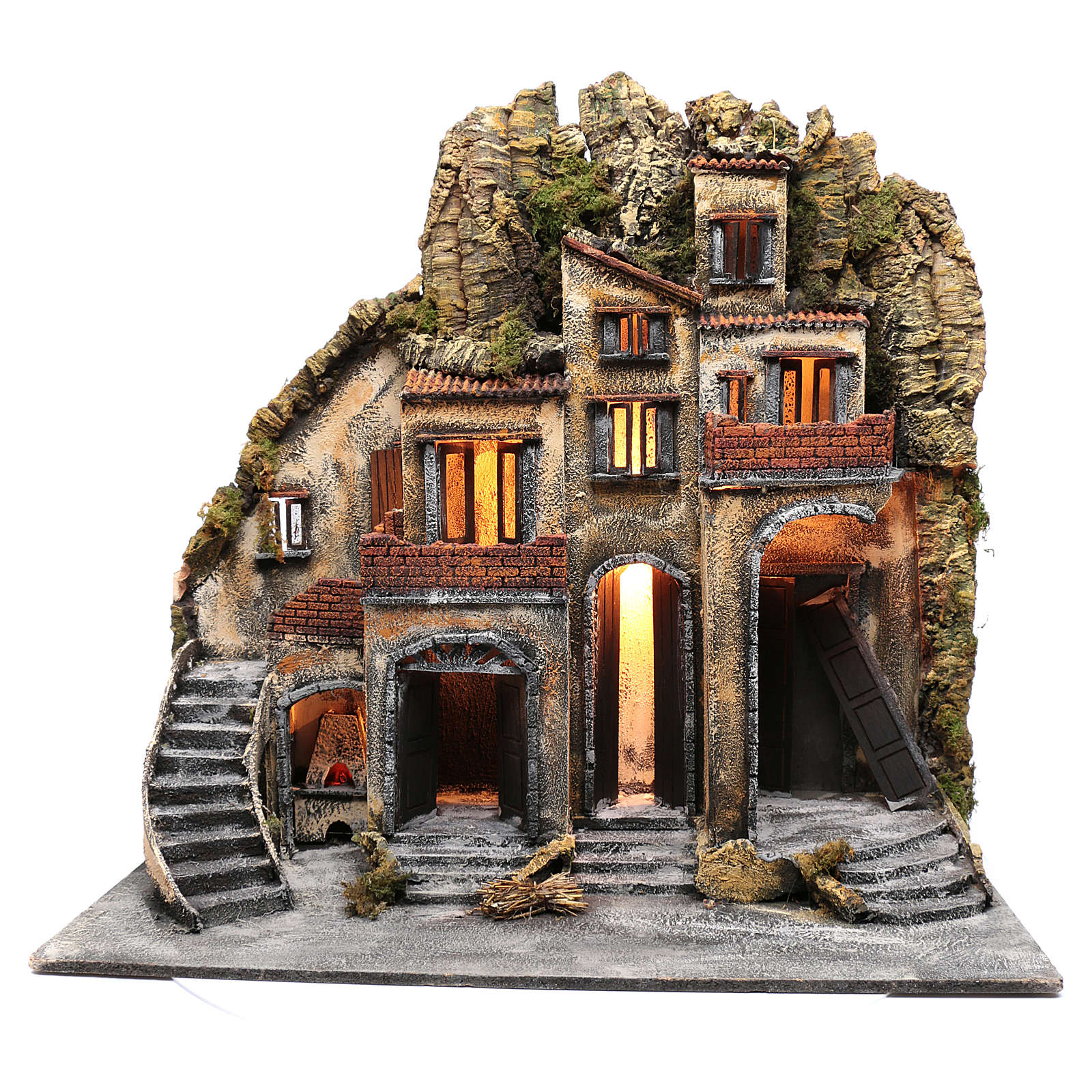 Neapolitan nativity scene village  75x80x40 cm with wooden doors 4