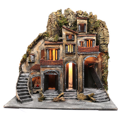 Neapolitan nativity scene village  75x80x40 cm with wooden doors 1