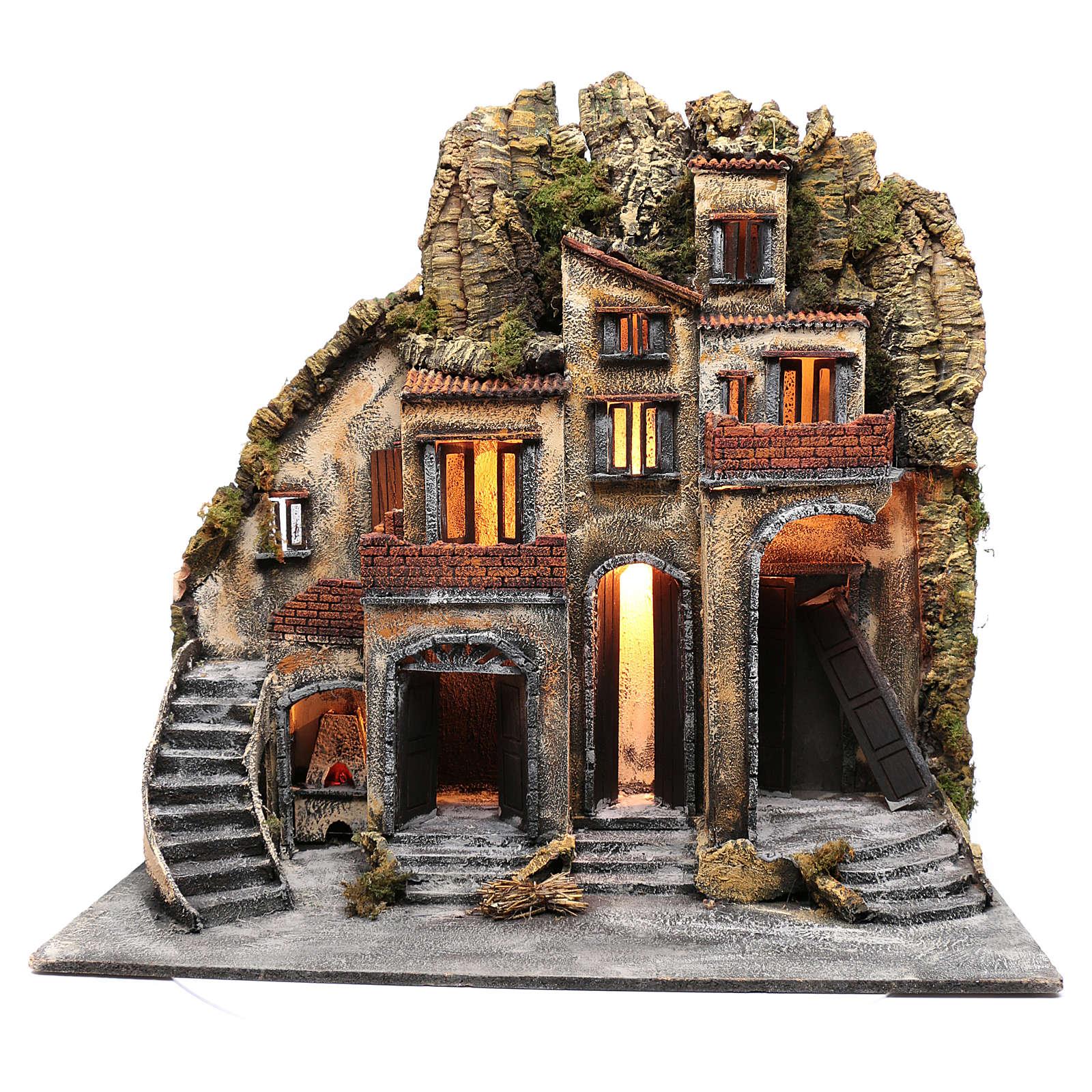 Neapolitan nativity scene village  75x80x40 cm with wooden doors 4