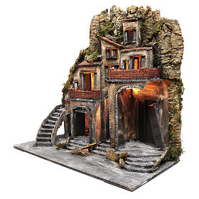 Neapolitan nativity scene village  75x80x40 cm with wooden doors s2
