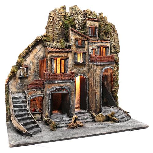 Neapolitan nativity scene village  75x80x40 cm with wooden doors 3