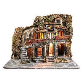 Borgo presepe napoletano con porte in legno e fontane s1