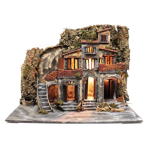 Borgo presepe napoletano con porte in legno e fontane 1