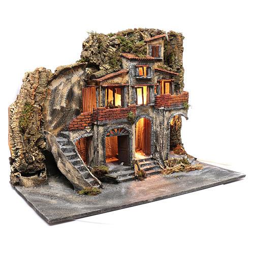 Borgo presepe napoletano con porte in legno e fontane 3