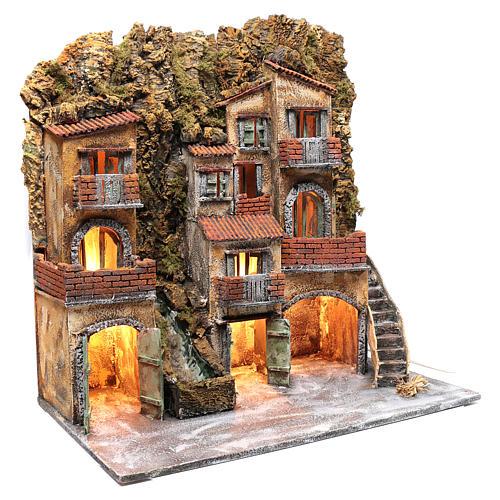 Ambientazione presepe napoletano con luce e cascata 70x65x40 cm 3