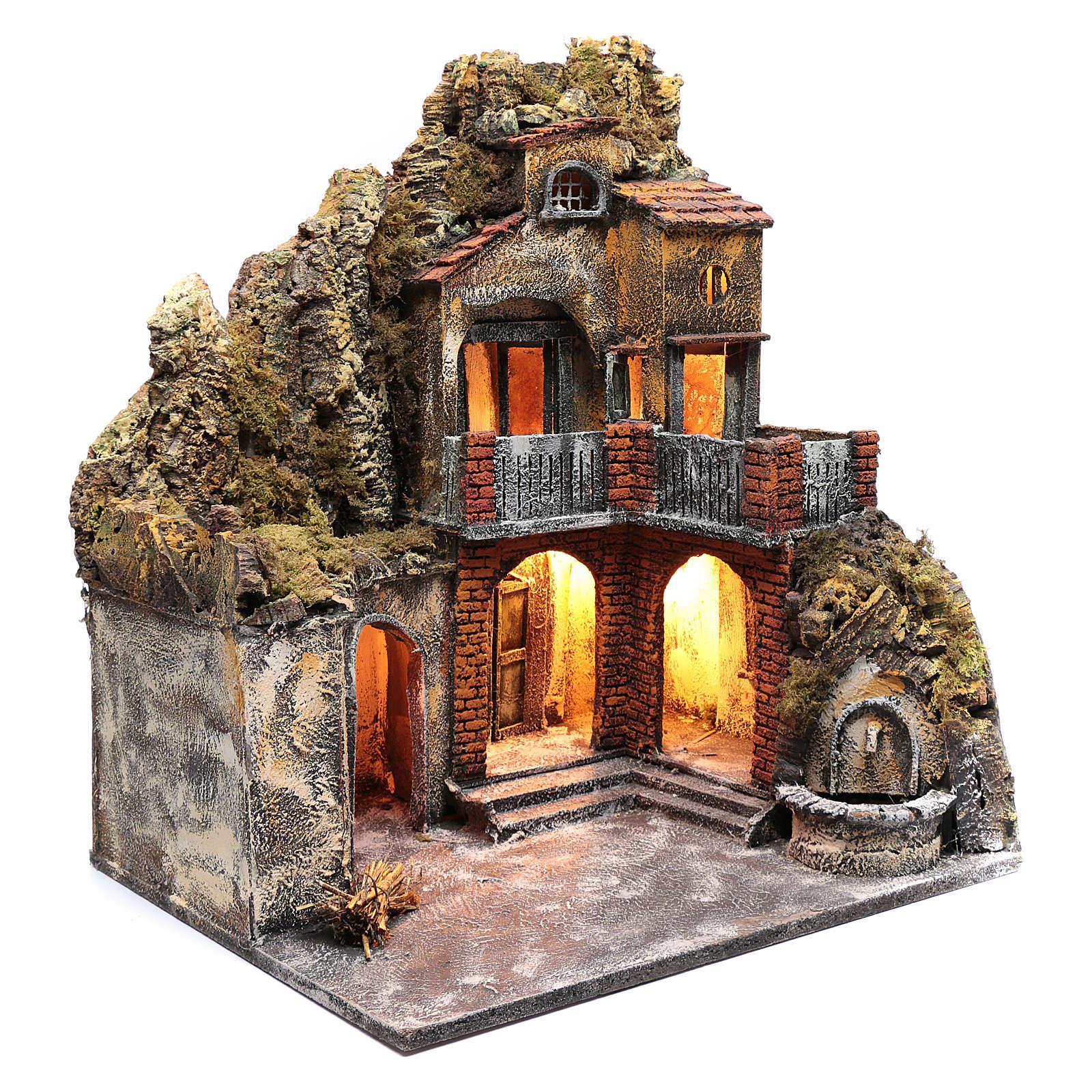 Ambientazione presepe napoletano con luce e fontanella 60x50x40 cm 4
