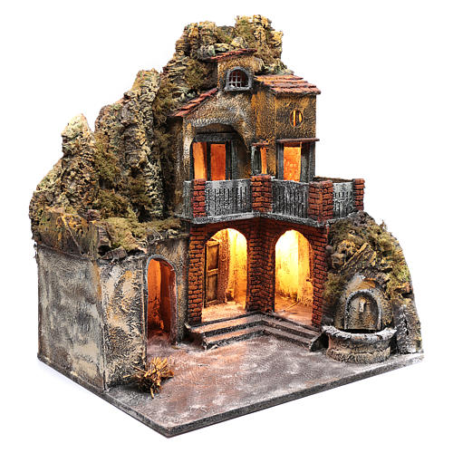 Ambientazione presepe napoletano con luce e fontanella 60x50x40 cm 3