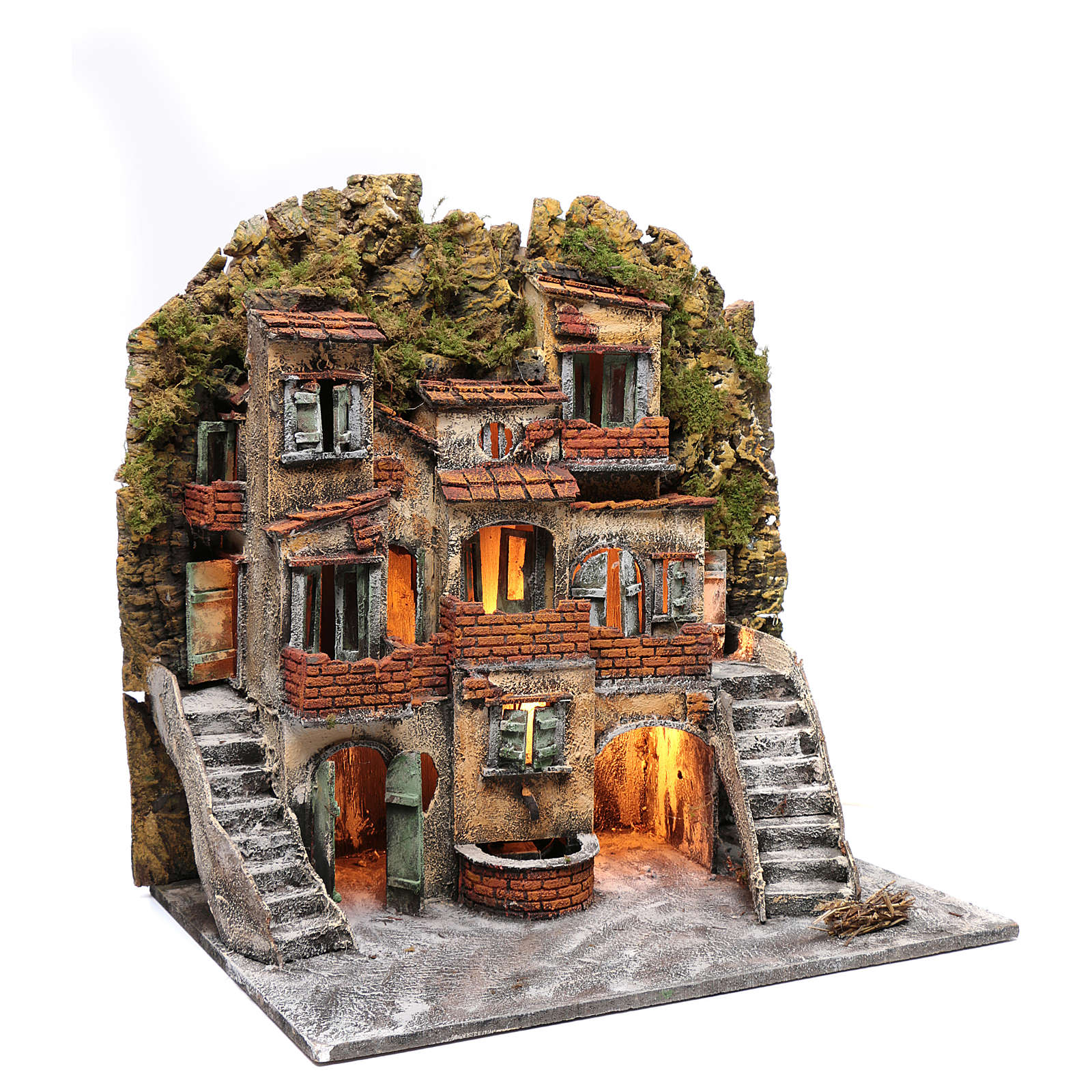 Borgo presepe Napoli illuminato 60x55x40 cm scale laterali e fontanella 4