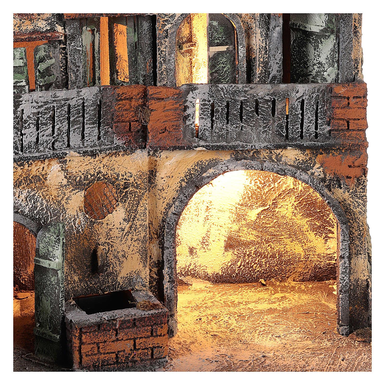 Ambientazione per scena presepe Napoli con luce e fontana 55x45x30 cm 4