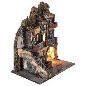 Ambientazione per scena presepe Napoli con luce e fontana 55x45x30 cm s4