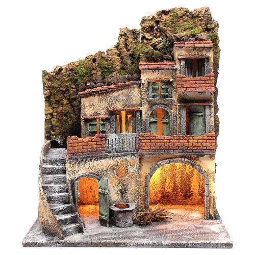 Ambientazione per scena presepe Napoli con luce e fontana 55x45x30 cm 1