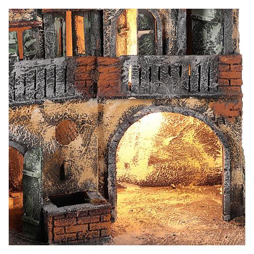 Ambientazione per scena presepe Napoli con luce e fontana 55x45x30 cm 2