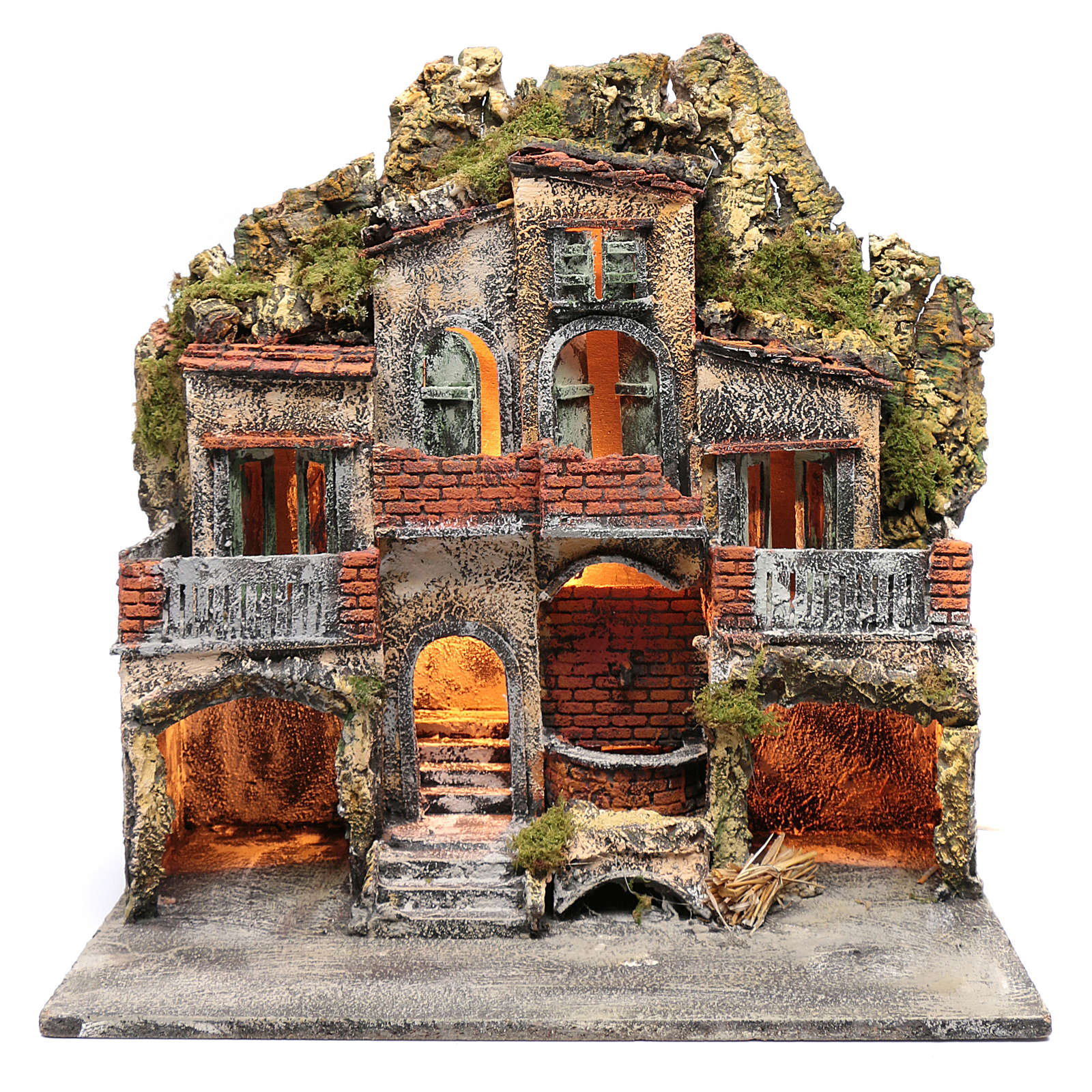 Borgo con due capanne 50x50x35 cm con fontana e luce presepe Napoli 4