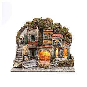 Ambientazione presepe di Napoli 40x50x30 cm con capanna s1