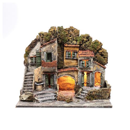 Ambientazione presepe di Napoli 40x50x30 cm con capanna 1