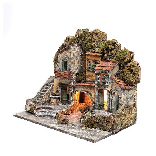 Ambientazione presepe di Napoli 40x50x30 cm con capanna 2