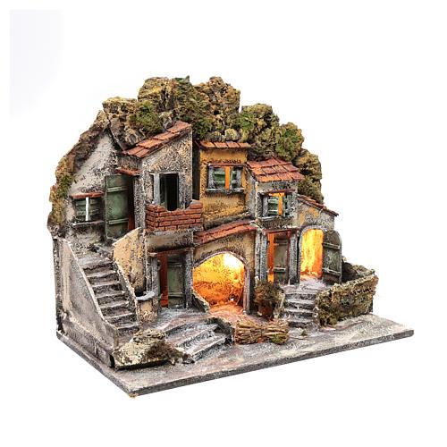 Ambientazione presepe di Napoli 40x50x30 cm con capanna 3