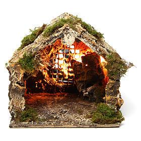 Capanna illuminata presepe di Napoli 15x15x15 cm s1