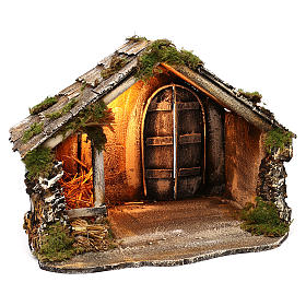 Hut with pointed roof and trough 50x45x50 cm for Neapolitan nativity scene s3