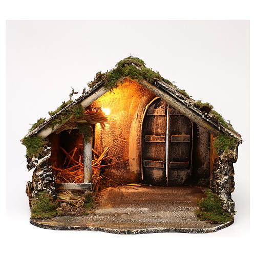 Hut with pointed roof and trough 50x45x50 cm for Neapolitan nativity scene 1