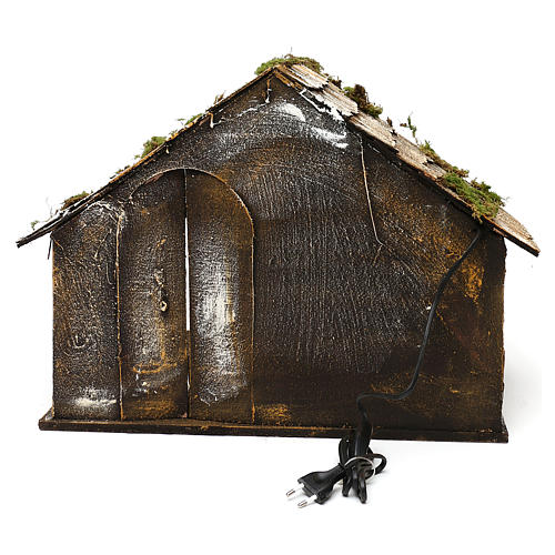 Hut with pointed roof and trough 50x45x50 cm for Neapolitan nativity scene 4
