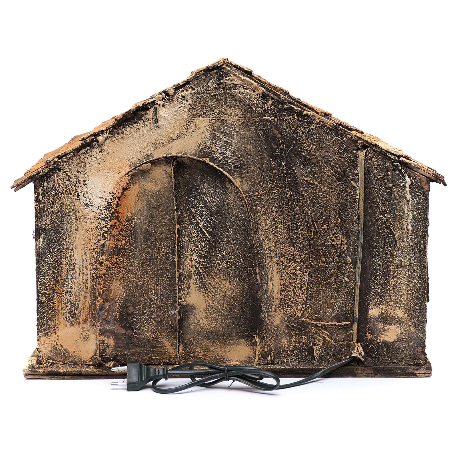 Capanna tetto a punta e mangiatoia 50x45x50 cm presepe di Napoli 4
