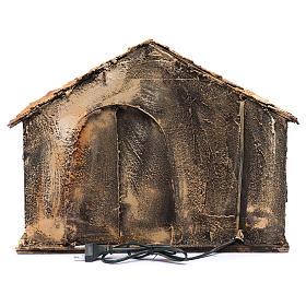 Capanna tetto a punta e mangiatoia 50x45x50 cm presepe di Napoli s4