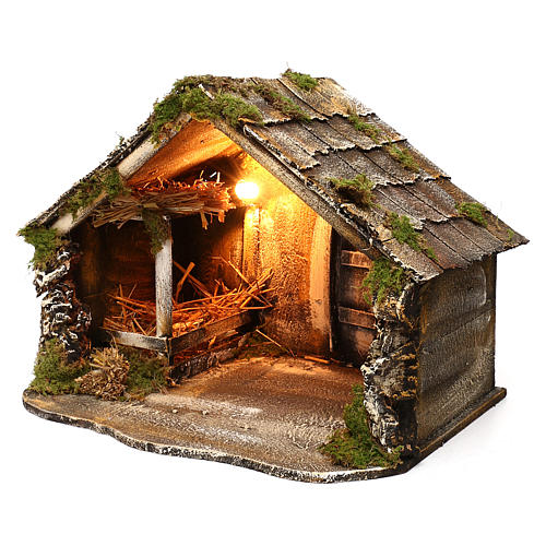 Hut with pointed roof and trough 50x45x50 cm for Neapolitan nativity scene 2
