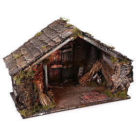 Hut with trough and light 45x60x50 cm for Neapolitan nativity scene s2