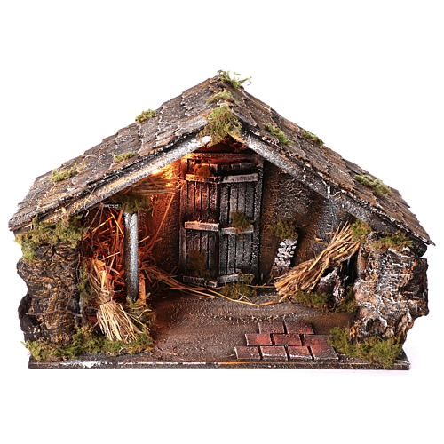 Hut with trough and light 45x60x50 cm for Neapolitan nativity scene 1