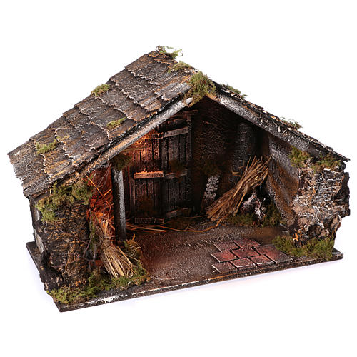 Hut with trough and light 45x60x50 cm for Neapolitan nativity scene 2