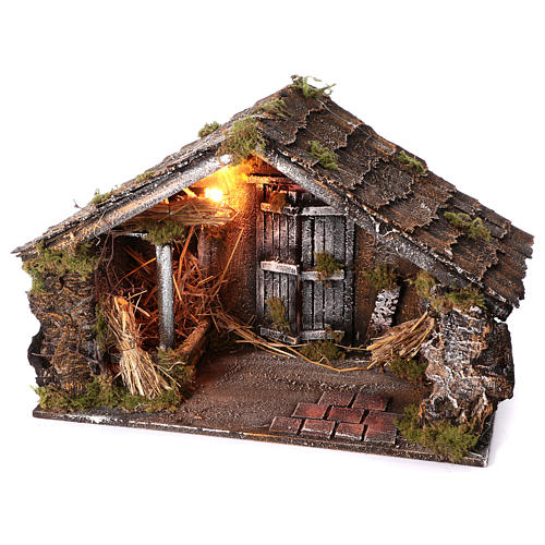 Hut with trough and light 45x60x50 cm for Neapolitan nativity scene 3