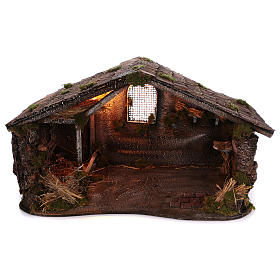Neapolitan Nativity Scene: Hut with lights and trough for Neapolitan nativity scene  50x80x60 cm