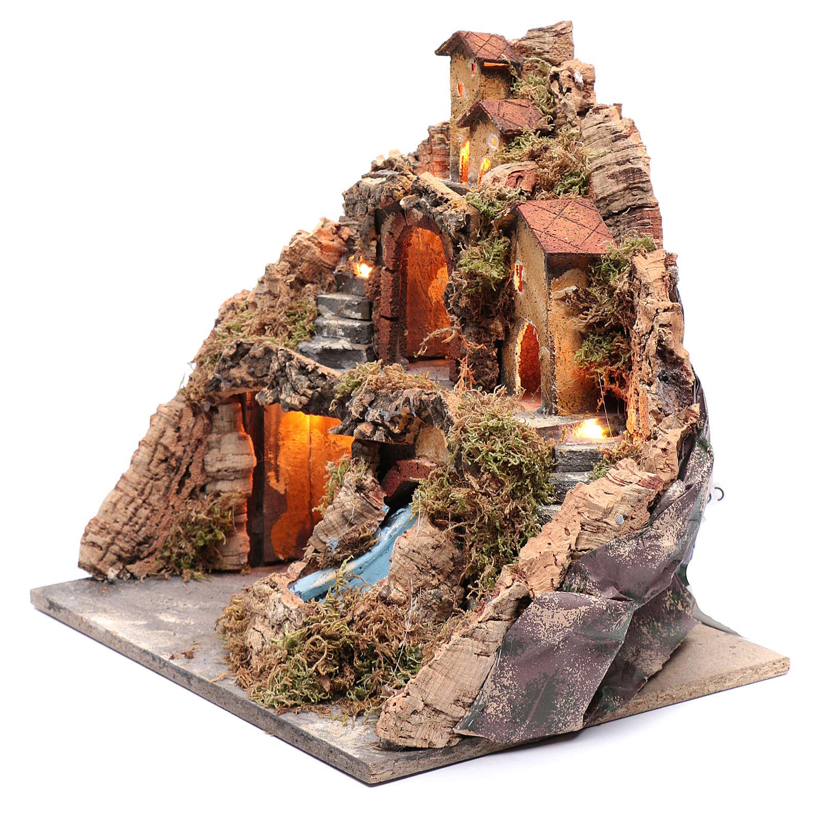 Escenografía pueblo para pesebre gruta y cascada 40x40x30 cm 4