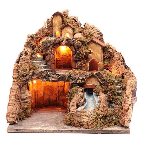 Borgo presepe capanna e cascata 40x40x30 cm 1