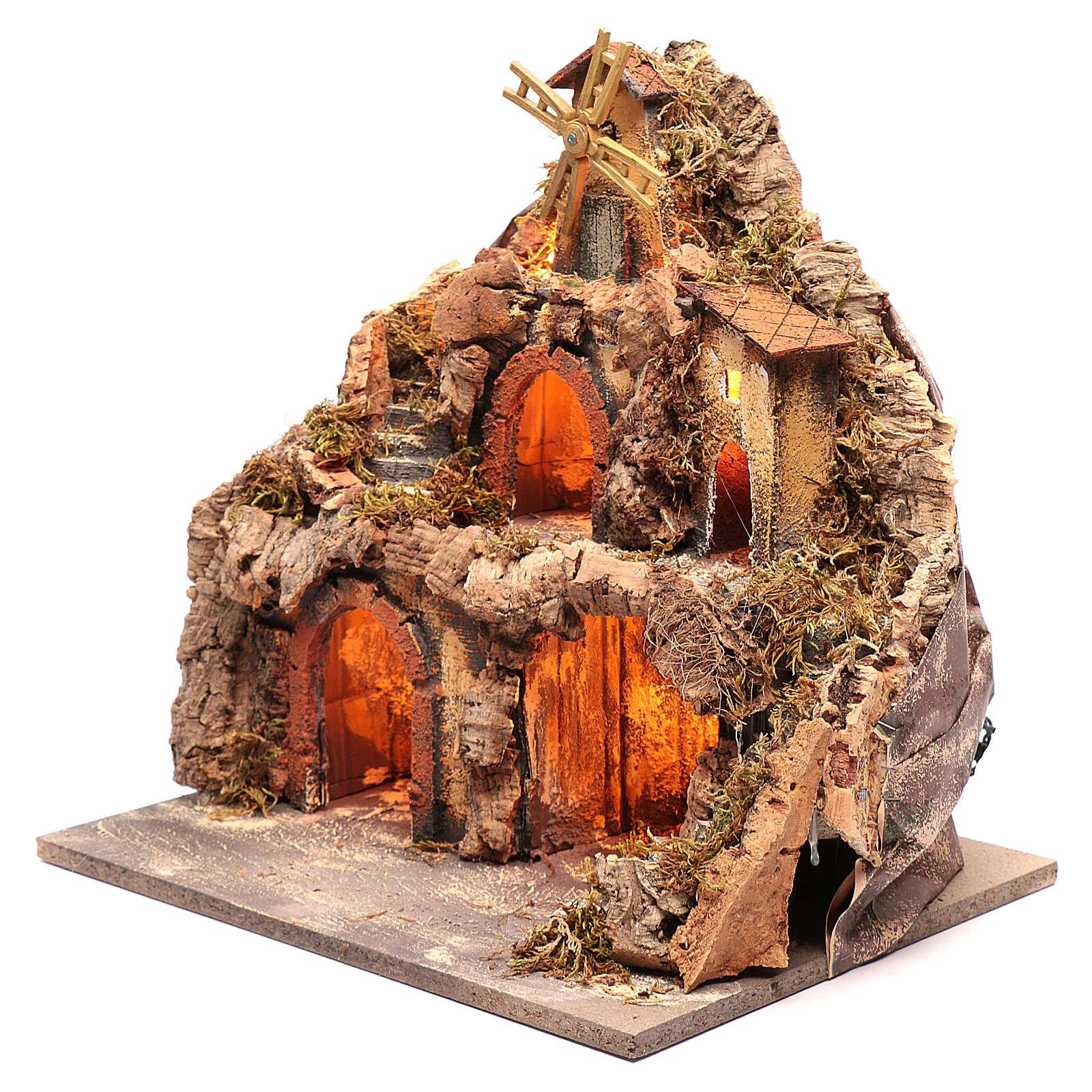 Borgo con capanne e mulino 40x40x30 cm 4