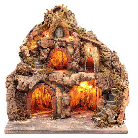 Borgo con capanne e mulino 40x40x30 cm s1