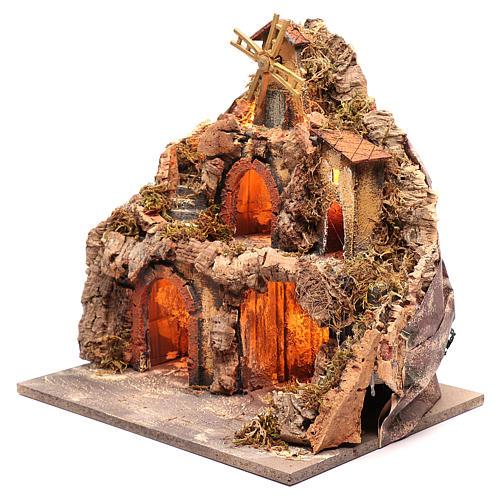 Borgo con capanne e mulino 40x40x30 cm 2