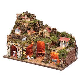 Nativity scene setting houses with lights and sheep 35x50x25 cm s2